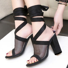 Load image into Gallery viewer, Elegant Fish Mouth Mesh High Heels Shoes