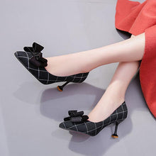 Load image into Gallery viewer, Plaid Pointed Toe High Heels OL Shoes