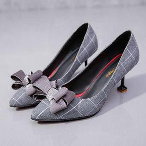 Plaid Pointed Toe High Heels OL Shoes