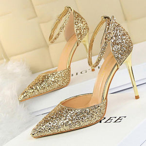 Elegant Sequins Pointed Toe Sandals Shoes