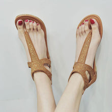 Load image into Gallery viewer, Plus Size Rhinestone PU Zipper Sandals