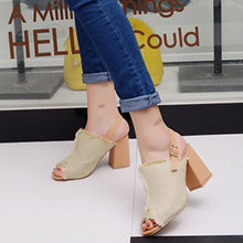 Load image into Gallery viewer, Demin Cloth Head Leaky Toe Rough High Heel Shoes