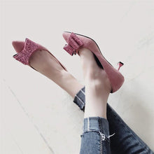 Load image into Gallery viewer, Fashion Suede Slim Heel Shoes With Bow-Knot