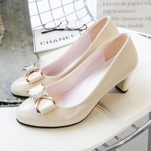 Elegant Pure Color Thick Heel Shoes With Bow-Knot