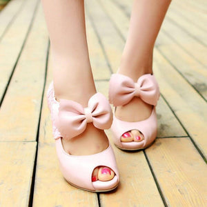 Elegant Lace Bow-Knot Fish Mouth High Heel Shoes