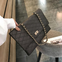 Load image into Gallery viewer, Fashion Business Formal Leather Rectangle Rhombus Chain One Shoulder Bag