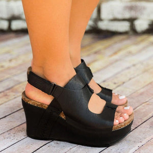 Women's Open Toe Front Cut Out Magic Tape Wedge Heel Sandals