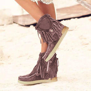 Suede Daily Tassel Ankle Boots