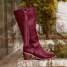 Load image into Gallery viewer, Vintage Tassel Knot Knee High Boots Artificial Leather Winter Boots