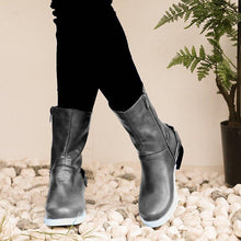 Load image into Gallery viewer, Low Heel Artificial Leather Zipper Fall Boots Vintage Booties