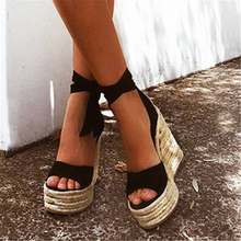 Load image into Gallery viewer, Fashion Wedge   Lace-Up Sandals
