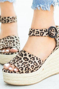 Fashion Casual Leopard Platform   Wedge Sandals