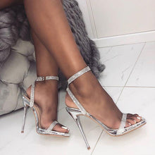 Load image into Gallery viewer, Stiletto High Heel Rhinestone Sandals Buckle With Open Toe Women's Shoes