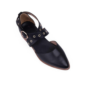 Women's Casual Cross Buckle   Point Flat Shoes