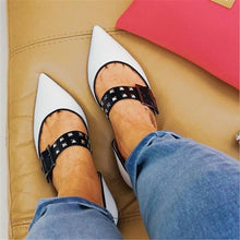 Load image into Gallery viewer, Women's Casual Rivet Buckle Point Flat Shoes