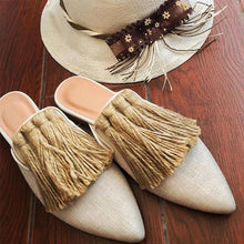 Load image into Gallery viewer, Women's Solid Color Fringed Decorative Pointed Flats