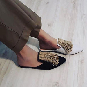 Women's Solid Color Fringed Decorative Pointed Flats