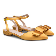 Load image into Gallery viewer, Women's Satin Bow Buckle Point   Flats