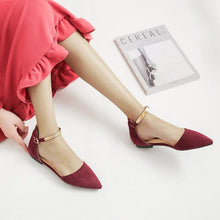 Load image into Gallery viewer, Fashion Korean Style Elegant Metal Buckle Pure Color Pointed Toes Flats