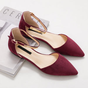 Fashion Korean Style Elegant Metal Buckle Pure Color Pointed Toes Flats