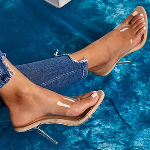 Summer Fashion Clip Toe Transparent Stiletto High Heel Ladies Slippers