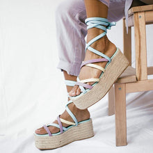 Load image into Gallery viewer, Women's Fashion Colouring Cross Straps Platform Sandals
