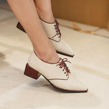 Load image into Gallery viewer, Fashion Brief Square Toe Plain Lace-Up Casual Shoes