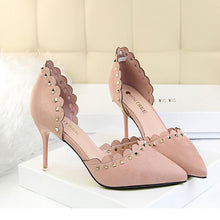 Load image into Gallery viewer, Elegant Suede Pure Color Pointed Slim Heel Shoes