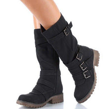 Load image into Gallery viewer, Women Adjustable Buckle Comfy Mid-Calf Low Heel Boots