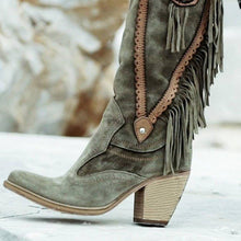 Load image into Gallery viewer, Women Winter  Vintage Tassel Knee-High Boots