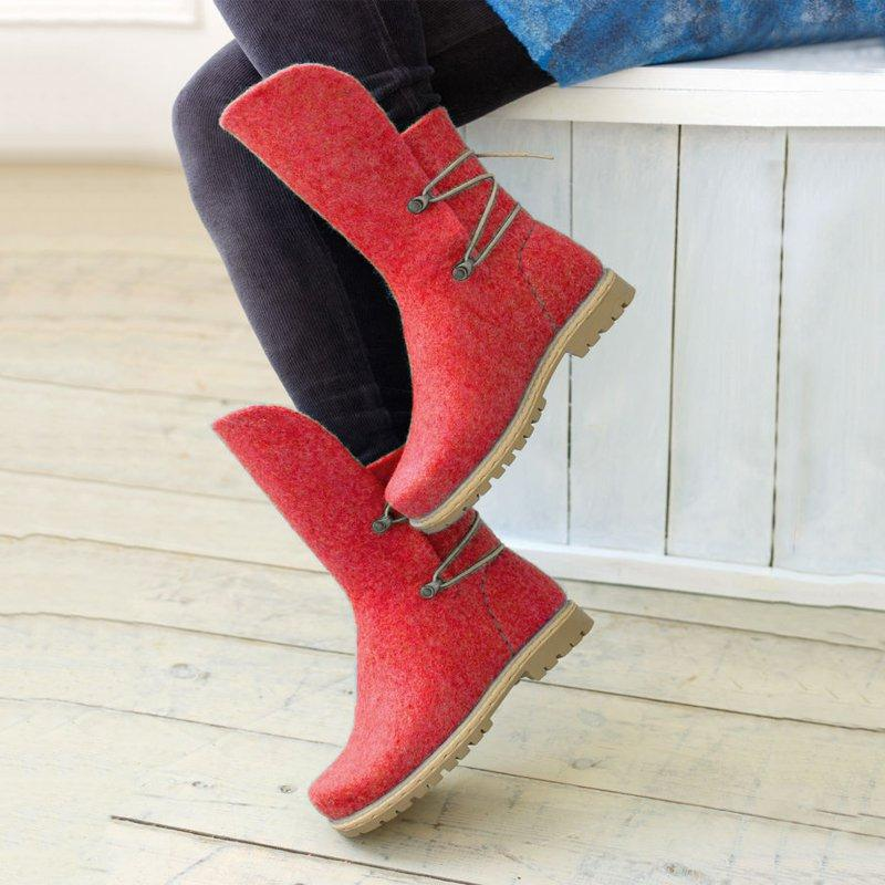 Women Winter Elastic Band Woolen Mid-Calf Boots