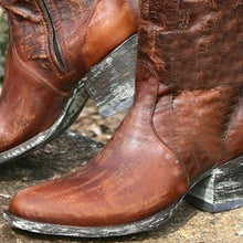 Load image into Gallery viewer, Womens Western Cowboy Boots  Artificial Leather Zipper Boots