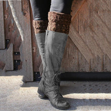 Load image into Gallery viewer, Buckle Pu Leather Long Boots Knee-High Vintage Fashion Boots With Zipper