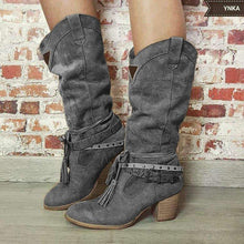 Load image into Gallery viewer, Mid Calf Fringe Chunky Heel Adjustable Buckle Artificial Leather Boots