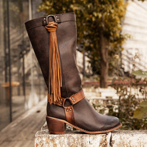 Vintage Tassel Knot Knee High Boots Artificial Leather Winter Boots