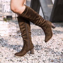 Load image into Gallery viewer, Women's thick and suede zipper boots