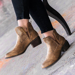 Women Vintage Ankle Boots Casual Chic Slip On Boots