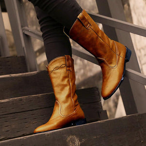 Women's vintage low heel ankle boots