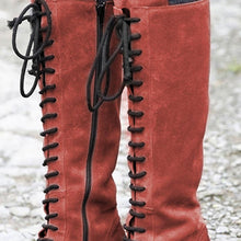 Load image into Gallery viewer, Women's Lace-Up Knee-High Artificial Leather Tall Boots