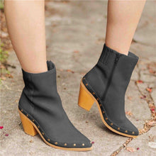 Load image into Gallery viewer, Women Elegant Artificial Leather Chunky Heel Ankle Boots