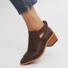 Load image into Gallery viewer, Women PU Booties Casual Comfort Adjustable Buckle Plus Size Shoes