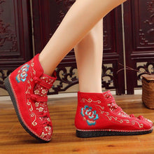Load image into Gallery viewer, Women Canvas Booties Vintage Comfort Floral Embroidered Lace Up Shoes