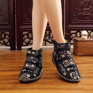 Women Canvas Booties Vintage Comfort Floral Embroidered Lace Up Shoes