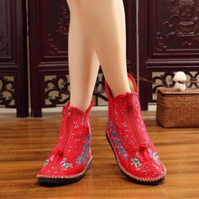Load image into Gallery viewer, Women's canvas vintage cozy floral embroidery zipper boots