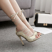 Load image into Gallery viewer, Snakeskin Lace-Up Thin Heeled Sandals
