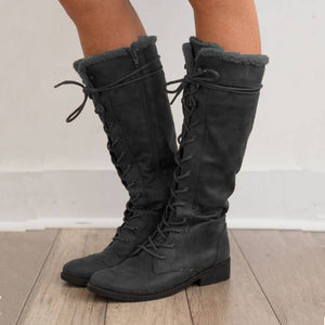 Women Casual Winter Warm Zipper Low Heel Boots