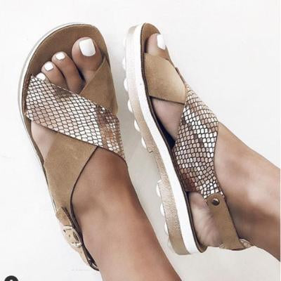 Summer Artificial Leather Flat Heel Sandals