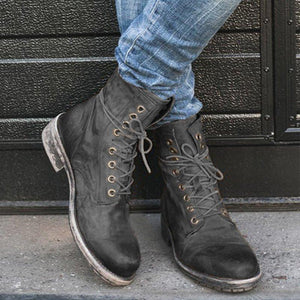 Low Heel All Season Pu Leather Lace-Up Boots Fashion Shoes