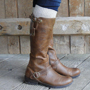 Buckle Low Heel Boots Mid Calf Womens Pu Leather Boots