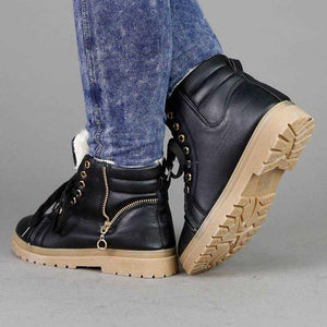 Low Heel Lace-Up Pu Leather Warm Fur Lined Winter Snow Boots